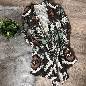Xhilaration Aztec Open Cardigan Size S